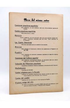 Contracubierta de NATURA. CANTOS INFANTILES CUADERNO 4º (R. Benedito) Unión Musical Española 1943. PARTITURAS