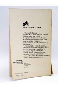 Contracubierta de NOVA CIENCIA FICCIÓN 7. PRECAUCIÓN ¡INFLAMABLE! (Thomas N. Scortia) Bruguera 1977