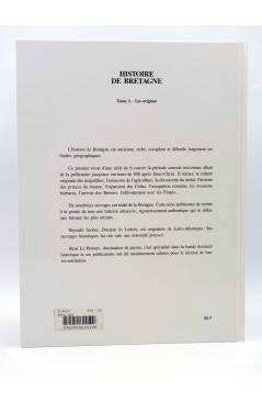 Contracubierta de HISTOIRE DE BRETAGNE TOME 1. LES ORIGENES. DE LA TERRES DES PIERRES A LA TERRE DES BRETONS (Secher / L