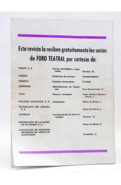 Contracubierta de PRIMER ACTO. REVISTA DE TEATRO 110. 3 DESBARTS DE LORENZO VILLALONGA (Vvaa) Primer Acto 1969