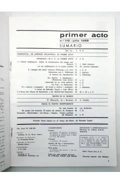 Muestra 1 de PRIMER ACTO. REVISTA DE TEATRO 110. 3 DESBARTS DE LORENZO VILLALONGA (Vvaa) Primer Acto 1969