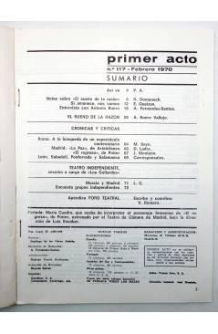 Muestra 1 de PRIMER ACTO. REVISTA DE TEATRO 117. EL SUEÑO DE LA RAZÓN DE BUERO VALLEJO (Vvaa) Primer Acto 1970