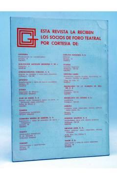Contracubierta de PRIMER ACTO. REVISTA DE TEATRO 123-124. PROVOCACIONES AL TEATRO ESPAÑOL (Vvaa) Primer Acto 1970