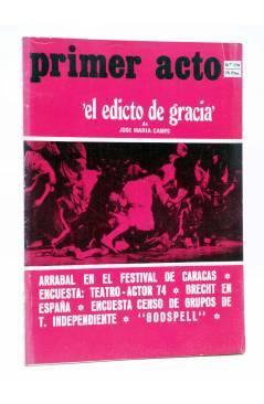Cubierta de PRIMER ACTO. REVISTA DE TEATRO 174. EL EDICTO DE GRACIA DE JOSÉ MARÍA CAMPS (Vvaa) Primer Acto 1974