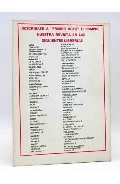 Contracubierta de PRIMER ACTO. REVISTA DE TEATRO 174. EL EDICTO DE GRACIA DE JOSÉ MARÍA CAMPS (Vvaa) Primer Acto 1974