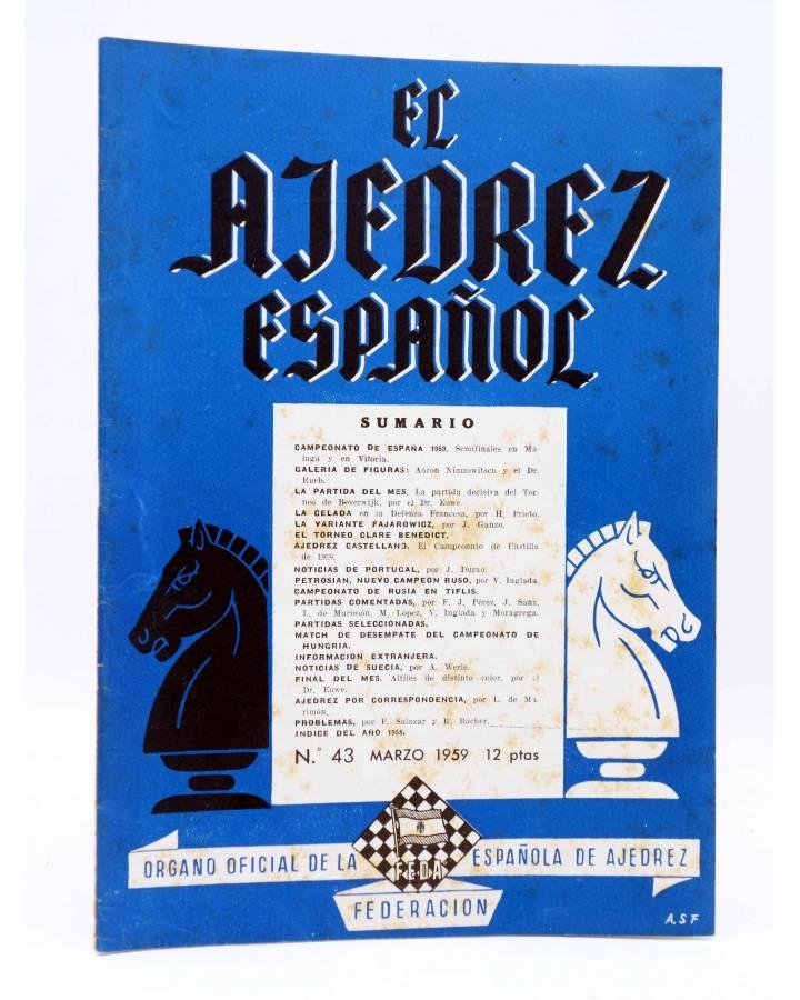 Cubierta de REVISTA EL AJEDREZ ESPAÑOL 43. MARZO 1959 (Vvaa) FEDA 1959