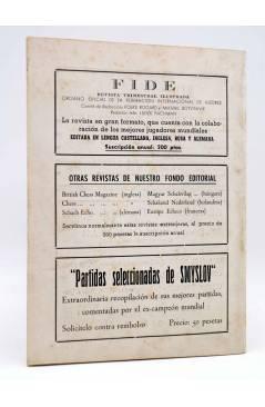 Contracubierta de REVISTA EL AJEDREZ ESPAÑOL 63 / 8 - 1961. AGOSTO. AJEDREZ EN VERANO (Vvaa) FEDA 1961