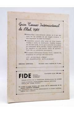 Contracubierta de REVISTA EL AJEDREZ ESPAÑOL 66 / 11 - 1961. SRTA FERRER CAMPEONATO MUNDIAL FEMENINO (Vvaa) FEDA 1961
