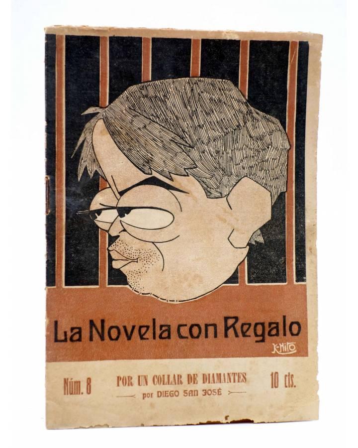 Cubierta de LA NOVELA CON REGALO AÑO I Nº 8. POR UN COLLAR DE DIAMANTES (Diego San José) Valencia 1916