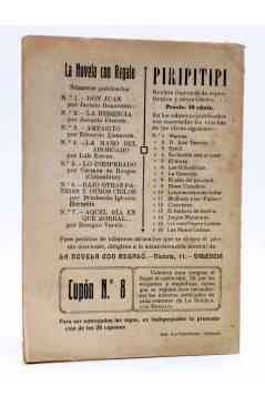 Contracubierta de LA NOVELA CON REGALO AÑO I Nº 8. POR UN COLLAR DE DIAMANTES (Diego San José) Valencia 1916