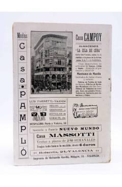Contracubierta de LA NOVELA CON REGALO AÑO II Nº 13. UN DRAMA CÓMICO (Vicente Díez De Tejada) Valencia 1917