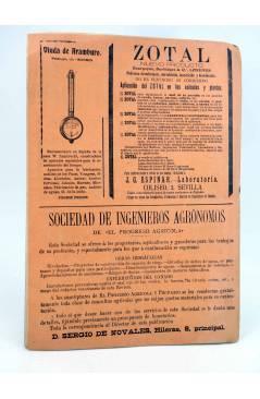 Contracubierta de EL PROGRESO AGRICOLA Y PECUARIO AÑO IX Nº 426 (Vvaa) Madrid 1905