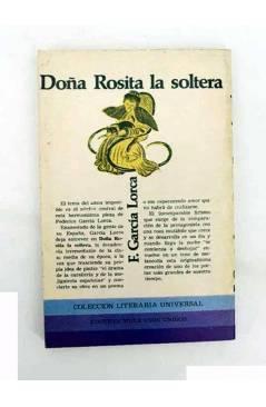 Contracubierta de COLECCIÓN LITERARIA UNIVERSAL TEATRO 18. DOÑA ROSITA LA SOLTERA (Federico García Lorca) Editores Mexic