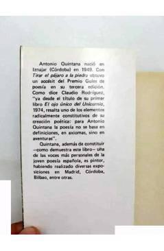 Muestra 1 de COLECCIÓN GULES POESÍA 11. TIRAR EL PÁJARO A LA PIEDRA (Antonio Quintana) Prometeo 1981