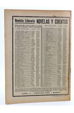 Contracubierta de REVISTA LITERARIA NOVELAS Y CUENTOS 221. EL MARQUÉS DE VILLEMER (Jorge Sand) Dédalo 1933