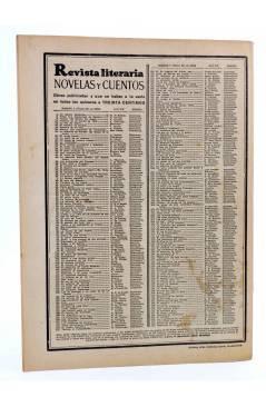 Contracubierta de REVISTA LITERARIA NOVELAS Y CUENTOS 259. ASESINADA EN LA JAULA DE ORO (Samuel Spewack) Dédalo 1933