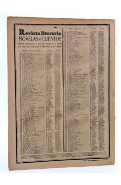 Contracubierta de REVISTA LITERARIA NOVELAS Y CUENTOS 266. CONFUSIÓN (Hugo Conway) Dédalo 1934
