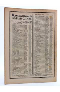 Contracubierta de REVISTA LITERARIA NOVELAS Y CUENTOS 268. UN ALMUERZO EN SOUSCEYRAC (Pierre Benoit) Dédalo 1934