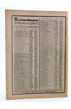 Contracubierta de REVISTA LITERARIA NOVELAS Y CUENTOS 273. LOS SEIS PERSEGUIDOS POR EL MUERTO (C Raymond) Dédalo 1934
