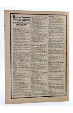 Contracubierta de REVISTA LITERARIA NOVELAS Y CUENTOS 291. EL GRILLO DEL HOGAR (Carlos Dickens) Dédalo 1934