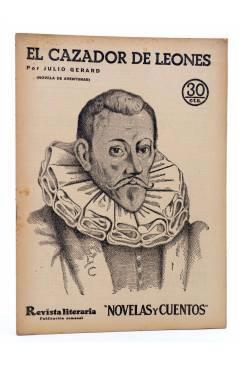 Cubierta de REVISTA LITERARIA NOVELAS Y CUENTOS 358. EL CAZADOR DE LEONES (Julio Gerard) Dédalo 1935