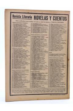Contracubierta de REVISTA LITERARIA NOVELAS Y CUENTOS 358. EL CAZADOR DE LEONES (Julio Gerard) Dédalo 1935