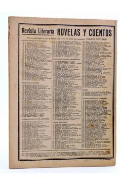 Contracubierta de REVISTA LITERARIA NOVELAS Y CUENTOS 364. LA DAMA DEL MAR (Herbert George Wells) Dédalo 1935