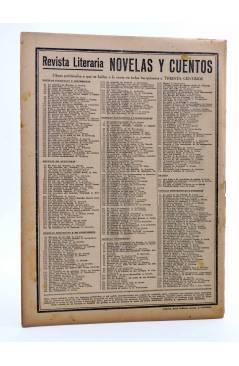 Contracubierta de REVISTA LITERARIA NOVELAS Y CUENTOS 368. LA INFIDELIDAD DE LUCÍA (Max Y Alex Fischer) Dédalo 1936