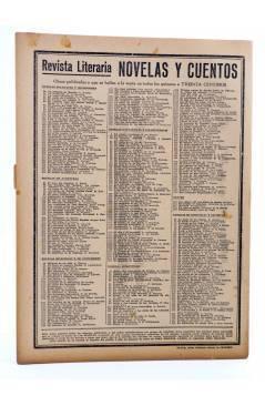 Contracubierta de REVISTA LITERARIA NOVELAS Y CUENTOS 371. DOS CORAZONES DESGRACIADOS (Matilde Serao) Dédalo 1936