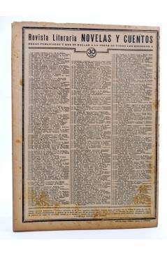 Contracubierta de REVISTA LITERARIA NOVELAS Y CUENTOS 385. LA FUERZA DEL AMOR (Henry Greville) Dédalo 1936
