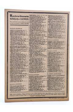 Contracubierta de REVISTA LITERARIA NOVELAS Y CUENTOS 390. LA HIJA DEL ALMIRANTE (Emilio Souvestre) Dédalo 1936