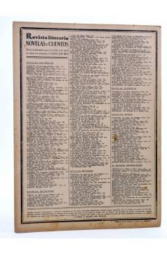Contracubierta de REVISTA LITERARIA NOVELAS Y CUENTOS 398. MÁS FUERTE QUE EL AMOR (Gilberto A. Thierry) Dédalo 1936