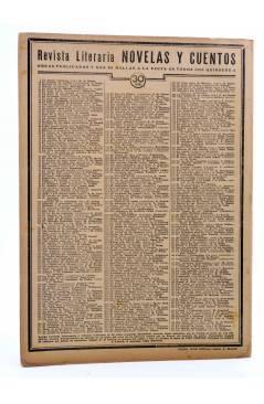 Contracubierta de REVISTA LITERARIA NOVELAS Y CUENTOS 402. LOS AMORES DE ARTAGNAN (Adrien Guignery) Dédalo 1936