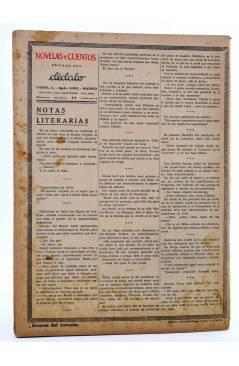 Contracubierta de REVISTA LITERARIA NOVELAS Y CUENTOS s/n. ERRORES DEL CORAZÓN (M. Maryan) Dédalo Circa 1940