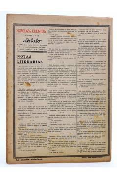 Contracubierta de REVISTA LITERARIA NOVELAS Y CUENTOS s/n. LA MANSIÓN MISTERIOSA (Maurice Leblanc) Dédalo Circa 1940