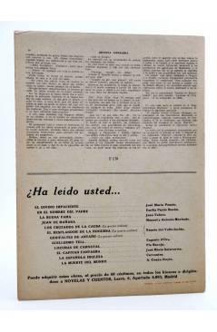 Contracubierta de REVISTA LITERARIA NOVELAS Y CUENTOS s/n. AVENTURAS DE UN FANFARRÓN (W. Thackeray) Dédalo Circa 1940