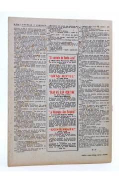 Contracubierta de REVISTA LITERARIA NOVELAS Y CUENTOS s/n. CLAUDIO EL PARIA (Victor Hugo) Dédalo Circa 1940