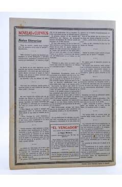 Contracubierta de REVISTA LITERARIA NOVELAS Y CUENTOS. AVENTURAS DE EL ALMIRANTE (R.L. Stevenson) Dédalo Circa 1940