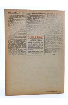 Contracubierta de REVISTA LITERARIA NOVELAS Y CUENTOS s/n. LA CANTANTE (Guillermo Hauff) Dédalo Circa 1940