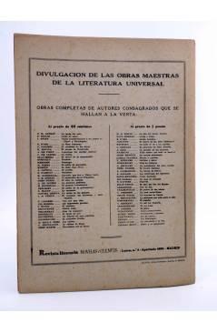 Contracubierta de REVISTA LITERARIA NOVELAS Y CUENTOS 746. EL CASAMIENTO DE FÍGARO (P.A.C. Beaumarchais) Dédalo 1945