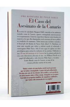 Contracubierta de EL CASO DEL ASESINATO DE LA CANARIO. UNA AVENTURA DE PHILO VANCE (S.S. Van Dine) Reino de Cordelia 201