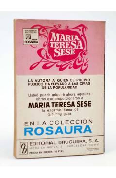 Contracubierta de COLECCIÓN ROSAURA 1125. BENDITO TESORO (María Teresa Sesé) Bruguera Bolsilibros 1971