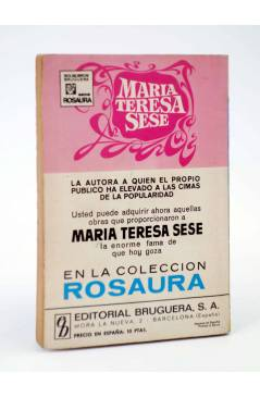 Contracubierta de COLECCIÓN ROSAURA 1167. DORIS (María Teresa Sesé) Bruguera Bolsilibros 1972