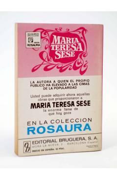 Contracubierta de COLECCIÓN ROSAURA 1190. MARGARITA (María Teresa Sesé) Bruguera Bolsilibros 1972