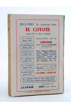 Contracubierta de EL COYOTE 138. NUEVO COYOTE 8: EL TESORO DE LAS MISIONES (José Mallorquí) Cliper 1951