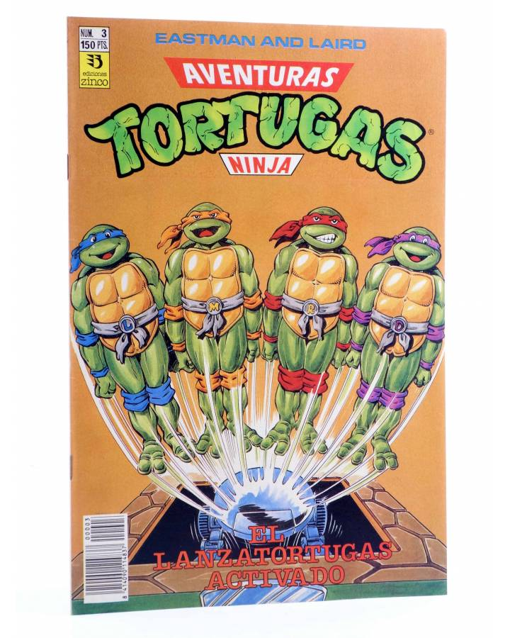 Cubierta de AVENTURAS TORTUGAS NINJA 3. EL LANZATORTUGAS ACTIVADO. Zinco 1990