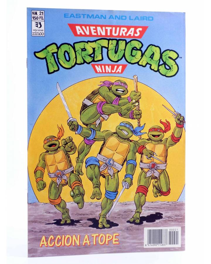 Cubierta de AVENTURAS TORTUGAS NINJA 21. ACCIÓN A TOPE. Zinco 1990