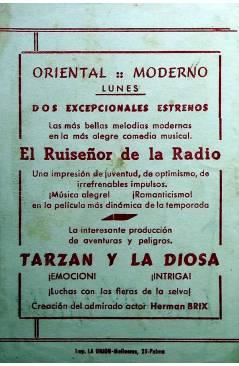 Contracubierta de PROGRAMA DE MANO. EL RUISEÑOR DE LA RADIO (Arthur Duarte) 1954. MARÍA MATOS ANTONIO SILVA
