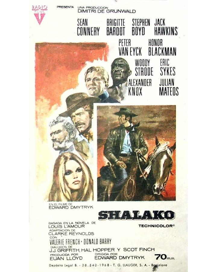 Cubierta de PROGRAMA DE MANO. SHALAKO (Edward Dmytryk) Dimitri De Grunwald 1968. SEAN CONNERY BRIGITTE BARDOR