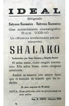 Contracubierta de PROGRAMA DE MANO. SHALAKO (Edward Dmytryk) Dimitri De Grunwald 1968. SEAN CONNERY BRIGITTE BARDOR